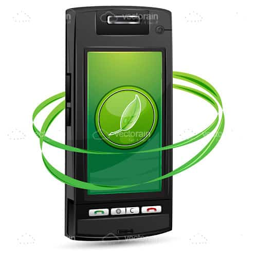 Mobile Phone with Green Logo