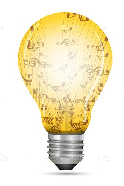 Halogen Lightbulb Filled With Musical Notation