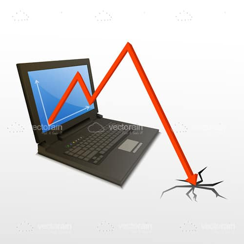 Computer with Graph Depicting a Loss