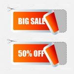 Big Sale and 50% Off Coupon Tags