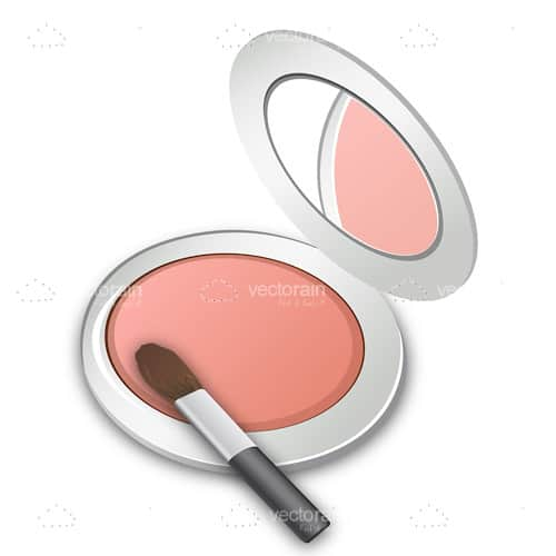 Round Pink Makeup Case with Brush and Mirror