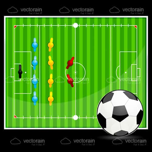 Soccer Ball with Soccer Field Display Background