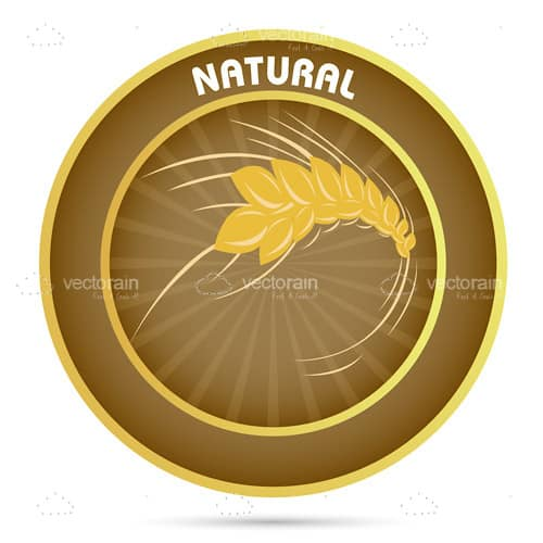 Natural Brown Badge with Wheat and Text