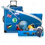 Blue Suitcases with Various International Travel Elements