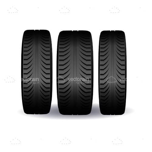 Car Tires with Front View Perspective