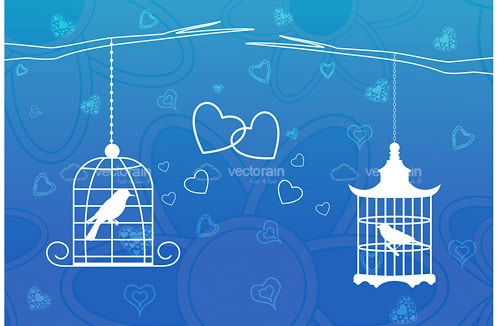 Caged Bird Silhouettes with Hearts