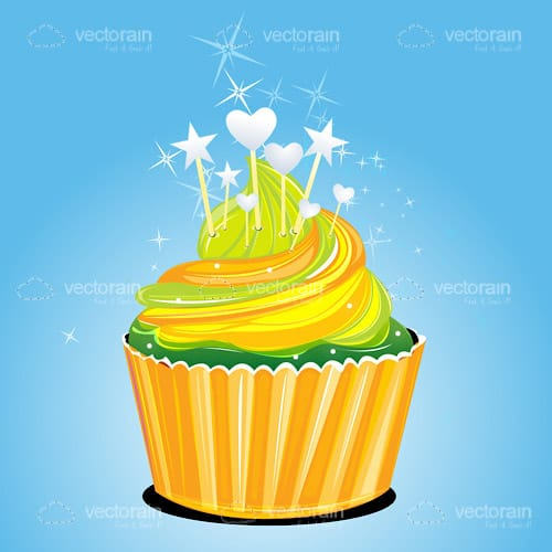 Delicious Cupcake with Yellow Icing and Decorations