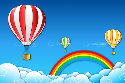 Illustrated Hot Air Balloons Floating through Cloudy Sky with Rainbow