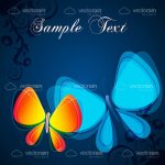 Abstract Orange and Blue Butterflies with Sample Text