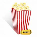 Popcorn with movie ticket