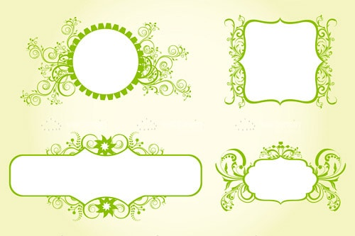 Abstract Floral Ornament Frames