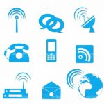 Blue Communication Icon Set