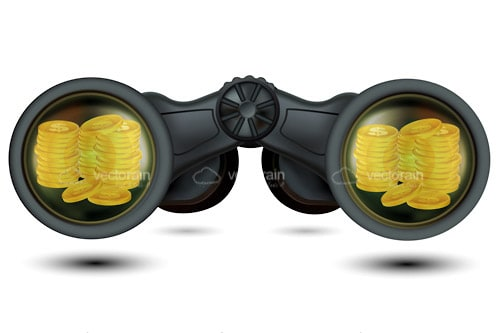 Binoculars with Gold Coins Reflected on Lenses