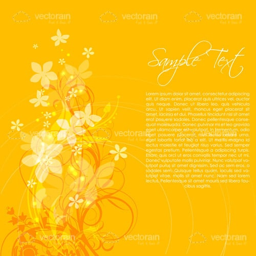 Bright Yellow Floral Background with Sample Text