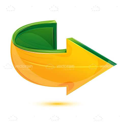 Curved Arrow in Yellow and Green with Volume Effect