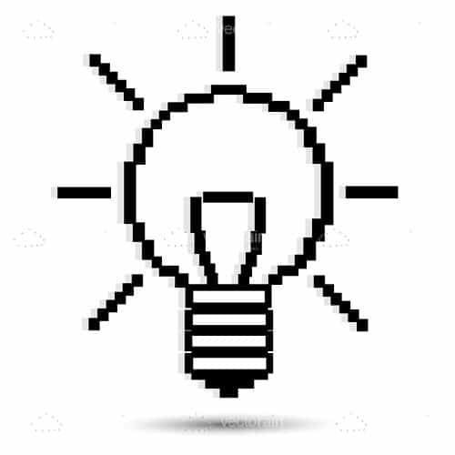 Abstract Lightbulb in Pixelated Sketch Style