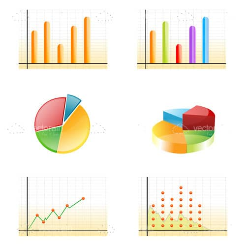 Various Cartoon Growth Graph Icons