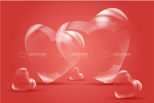 Transparent Hearts on Red Background