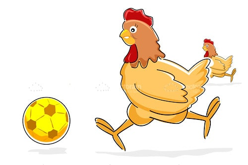Illustrated Hens Playing Soccer