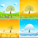 Seasons Mosaic with Different Weather Nature Scenes