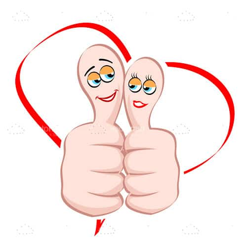 Cartoon Male and Female Thumbs and Heart