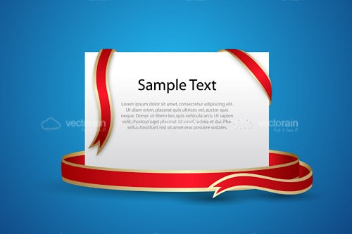Elegant White Card with Red and Gold Ribbon and Sample Text