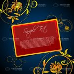 Abstract Blue Gold and Red Floral Card Background Design with Sample Text
