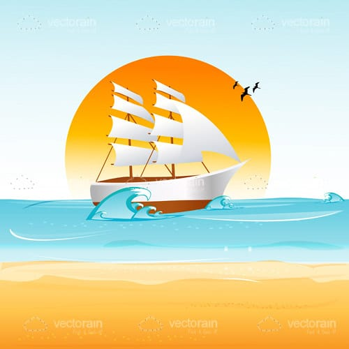 Illustrated Ship Sailing on the Sea In Front of a Large Sun