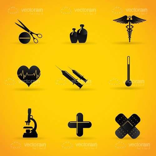 Black Silhouette Medical Icons 9 Pack on a Bright Yellow Background