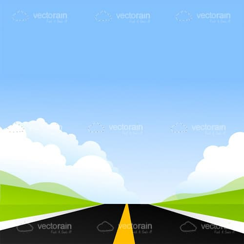 Illustrated Road with Green Field and Blue Sky Horizon