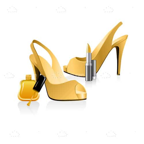 Golden High Heel Shoes, Nail Polish and Lipstick
