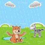 Illustrated Teddy Bear and Zebra on a Rainy Green Field