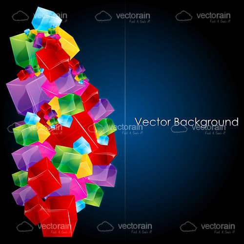 Abstract Geometric Background with Colourful Cubes and Sample Text
