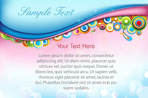 Abstract Illustrated Pink and Blue Card Background with Sample Text