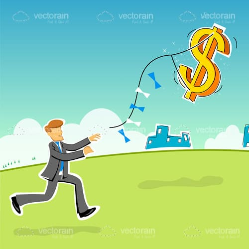 Abstract Businessman with Dollar Symbol Kite