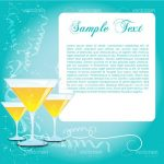 Celebration Theme with Cocktail Glasses, Confeti Pattern and Sample Text