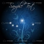 Dark Blue to Black Hued Background with Floral Design and Sample Text