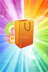 Illustrated Shopping Bag on Multicolour Background