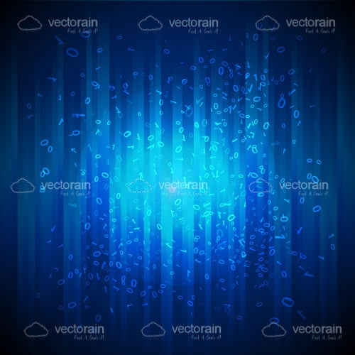 Abstract Blue Background with Binary Code Pattern