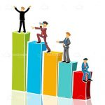 4 Illustrated Businessmen Climbing On A Colourful Bar Graph!