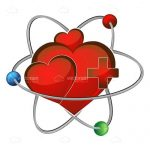 Atom Symbol with Red Hearts and Cross