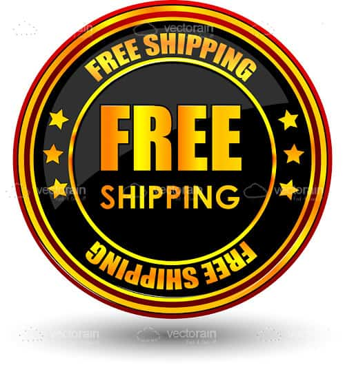 Black and Gold Free Shipping Icon