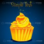 Golden Muffin with Icing and Sample Text