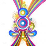 Colourful Retro Background with Circles and Swirls