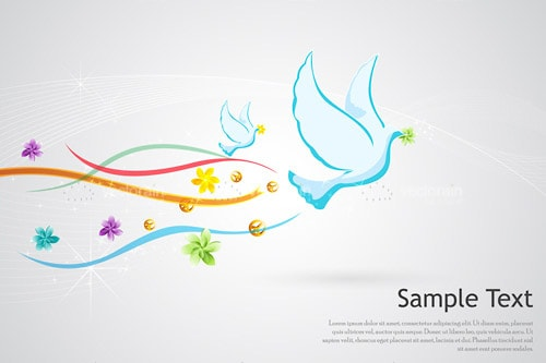 Pair of Abstract Blue Doves with Colourful Tail Streams and Sample Text