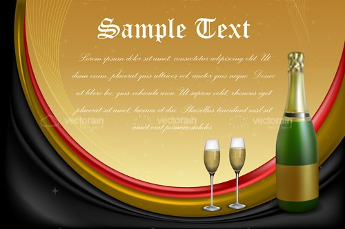 Celebration Design with Champagne Bottle, Glasses and Sample Text