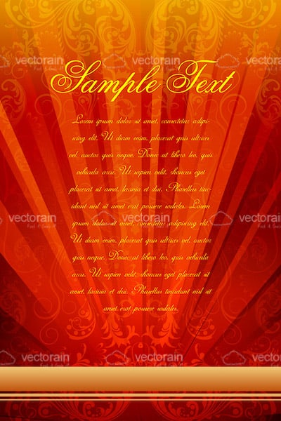 Abstract Orange Card Background with Sample Text