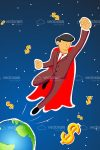 Abstract Superhero Businessman on Space with Dollar Symbols