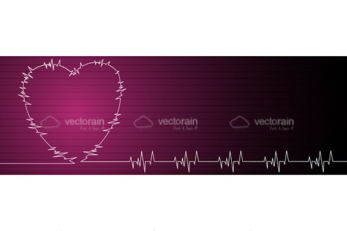 Pink Heart with Cardiogram on Pink to Black Hued Background