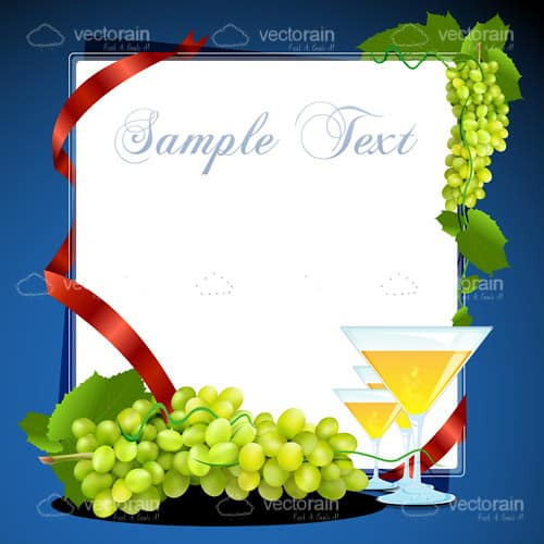 White Board with Grapes and Cocktail Glasses